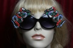 2477 Crystal Beaded Faced Snakes Embellished Sunglasses