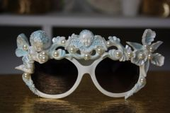 555 White Blue Pearled Cherub Orchid Unusual Fancy Sunglasses Eye Wear UV400