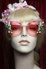 2852 Baroque Pink Trendy Embellished Sunglasses