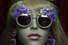 2747 Baroque Hydrangea 3D Effect Gold Filigree Baroque Sunglasses