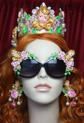 3039 Total aroque Sleeping Cherubs Hand Painted Flowers Sunglasses