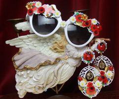 2718 Set Of Earrings+ Baroque Poppy Daisy Ladybug Sunglasses