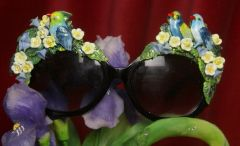 2737 Hand Painted Enamel Birds Floral Sunglasses