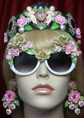 2303 Hand Painted Roses Cherubs Fancy White Sunglasses
