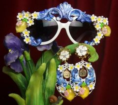 2719 Set Of Sicilian Lemon Fruit Flower Sunglasses+ Earrings