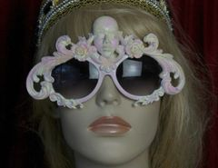 SOLD! 1749 Unusual Art Deco Pink Yellow Face Sunnies