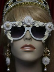 1747 White Crystal Eagle Button Embellished Sunglasses