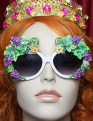 1975 Hand Painted Bee Impressive Grapes Embellished Sunglasses
