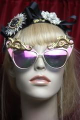 280 Runway Designer Inspired Cat Eye Pink Fire Fancy Sunglasses