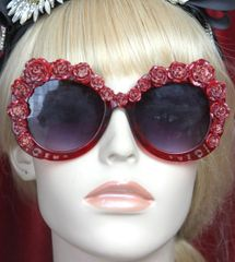 2801 Baroque Simple Elegnt Vine Red Rose Oversized Sunglasses