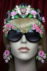 2302 Hand Painted Roses Cherubs Fancy Black Sunglasses