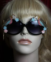 2476 Crystal 2 Sides Parrots Flower Embellished Sunglasses