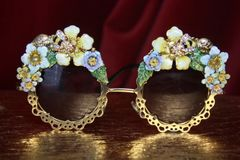 2976 Baroque Enamel Flower Bee Hand Painted Round Gold Filigree Sunglasses