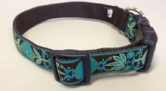 "1"" Teal Zinnia Flower Dog Collar"