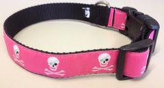 """1"""" Hot Pink Jolly Roger Skulls Dog Collar"""