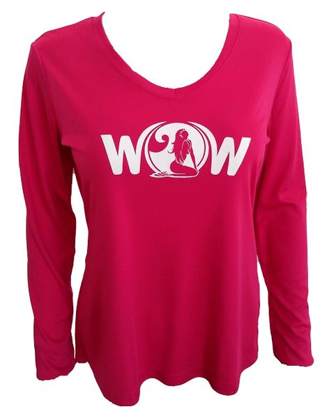 Keep It Classic 'WOW' Long Sleeve V-Neck Microfiber Performance Shirt