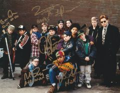 Autograph 8x10 of 5 Mighty Ducks actors, signed in gold (Guy, Karp, Averman, Banks, Hall)