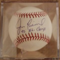 Jim Eisenreich, autographed MLB baseball, Philadelphia Phillies, 93 NL Champs inscription