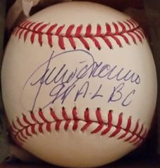 Julio Franco, autographed MLB baseball, Texas Rangers, 94 AL BA inscription