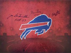 Marv Levy, Billy Shaw and Joe DeLamielleure signed 16x20 custom photo, Buffalo Bills