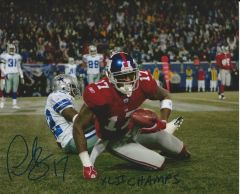 Plaxico Burress autograph 8x10, New York Giants with SB inscript