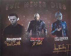 Nick Castle, Kane Hodder, Doug Bradley signed 16x20 custom photo (TPC Exclusive photo)
