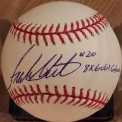 Frank White, autographed MLB baseball, Kansas City Royals, 8x Gold Glove inscription