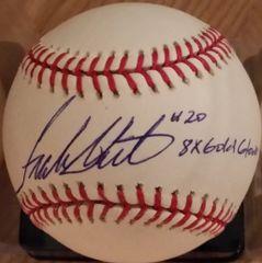Frank White, autographed MLB baseball, Kansas City Royals, 8x Gold Glove inscription