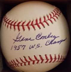 Gene Conley, autographed MLB baseball, 1957 WS Champs inscription