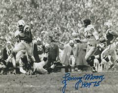 Autograph Lenny Moore 8x10, Baltimore Colts, Inscription: HOF 75