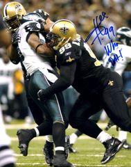 Hollis Thomas autograph 8x10, New Orleans Saints, Who Dat