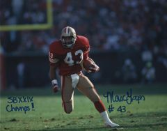 Marc Logan autograph 8x10, San Francisco 49ers, SB XXIX Champs inscription