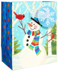 Smiling Snowman Small Vertical Bag w/ Gift Tag