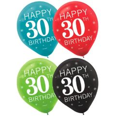 30th Celebration Latex Balloons, 15ct