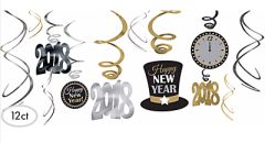 """2018"" Value Pack Foil Swirl Decorations - Black, Silver, Gold"