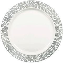 "White Silver Lace Border Premium Plastic Dinner Plates, 10""- 10ct"