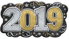 """2019"" Glitter Black, Gold & Silver Sign"
