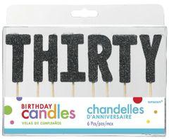 "30 ""T-H-I-R-T-Y"" Black Glitter Candles"
