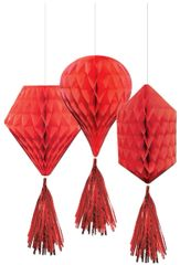 Mini Red Honeycomb Decorations with Tails, 3ct