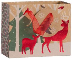 Small Reindeer Crossing Kraft Gift Bag