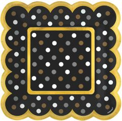 Black, Gold & Silver Polka Dot Scalloped Appetizer Plates, 36ct