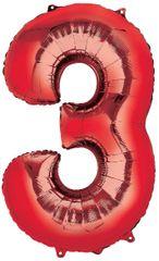 "34"" Red #3 Mylar Balloon"