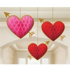 Honeycomb Heart Arrow Hanging Decorations