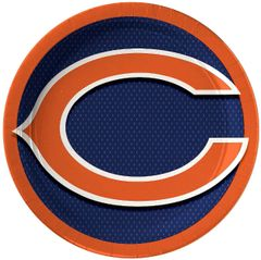 "Chicago Bears 9"" Round Plates, 8ct"