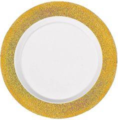 """White Prismatic Gold Border Premium Plastic Dinner Plates, 10"""" - 10ct"""