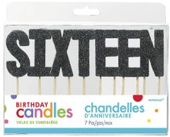"16 ""S-I-X-T-E-E-N"" Black Glitter Candles"
