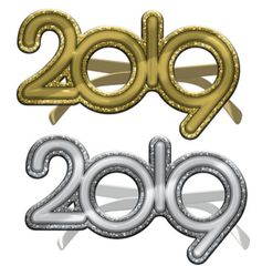 """2019"" Glitter Gold or Silver Glasses"