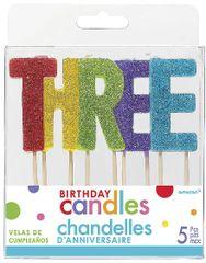 """03 """"T-H-R-E-E"""" Glitter Multi-Color Birthday Candles"""