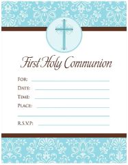 Blue First Communion Invitations, 20ct