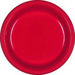 "Apple Red Plastic Plates, 7"""